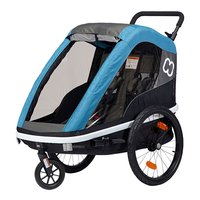 Hamax Kinderanhänger Avenida Zweisitzer incl. Stroller Wheel and Bicycle arm petrol blue